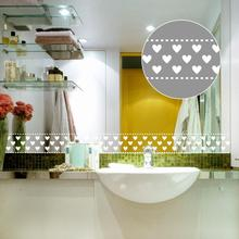 Cute Love Heart Self-adhesive Wall Sticker Bathroom Glass Door Stickers Murals diy Skirting Line Mirror Sticker Decoration ZE059