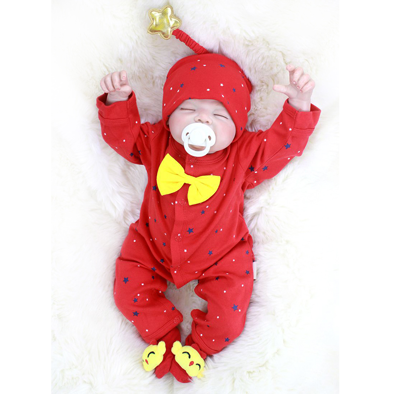 Nicery 20-22inch 50-55cm Bebe Reborn Doll Soft Silicone Boy Girl Toy Reborn Baby Doll Gift For Child Red Hat Red Jumpsuit