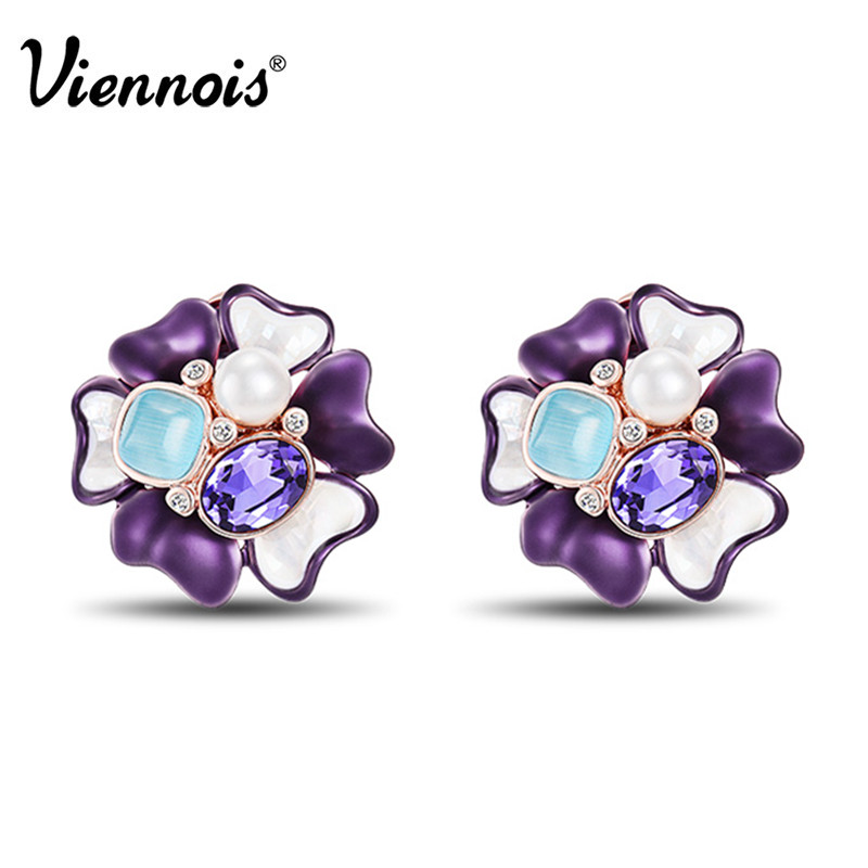 Viennois Rose Gold Color Flower Stud Earrings for Women Simulated Pearl Purple Crystal Earrings Female Spring Bloom Earrings pair of stylish rhinestone triangle stud earrings for women