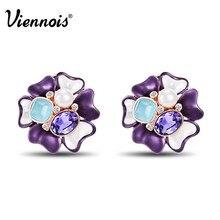 Viennois Rose oro Color flor pendientes para las mujeres simulado perla pendientes de cristal púrpura femenina primavera Bloom pendientes