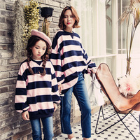Mommy and Me Clothes Mother Daughter Matching Clothes Pink Green Striped T Shirts Parent child Family Matching Outfits