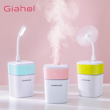3 in 1 320mL Mini Portable Grass Air Humidifier with LED Color Light fan Essential Aroma Diffuser for Office Home Mist Maker