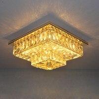Goud Double Layer Kristal Gangpad Licht Vierkante Crystal Veranda Plafondlamp Home Verlichting Lustre Armaturen Plafond Verlichting-in Plafondverlichting van Licht & verlichting op