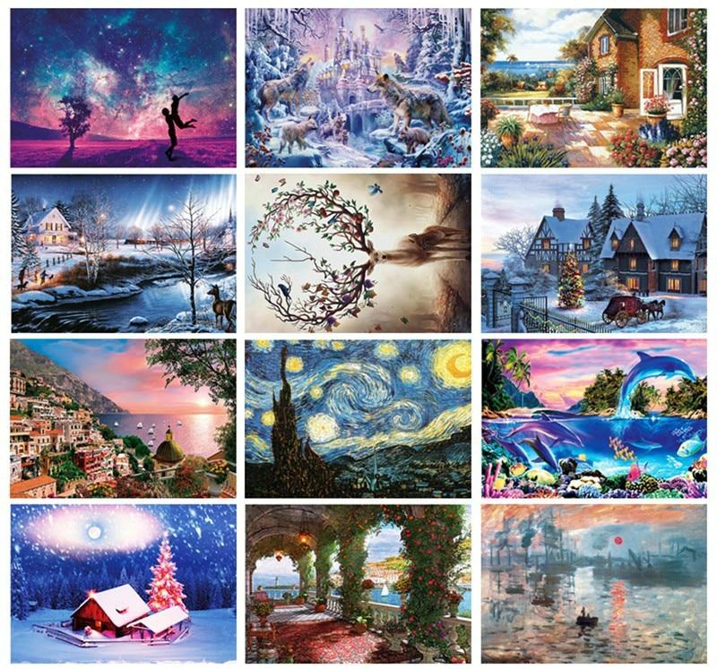 цена на 1000 Pcs/set DIY Famous Painting Adult Jigsaw Puzzle Creativity Imagine Toys Landscape Cartoon