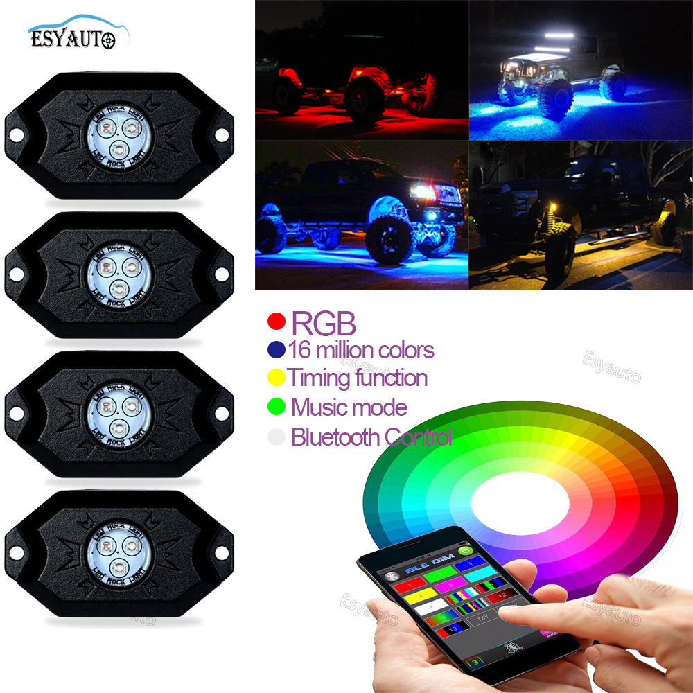 4pcs High Power RGB Multi-Color LED Rock Light Kit Truck SUV Off-Road Boat w/ Smartphone Bluetooth Remote Control for Jeep atreus 50w 7 led spot light with remote control searching lights for jeep suv truck hunting boat camp lamp bulb car accessories