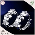 New Arrival High Quality Beautiful 925 Sterling Silver Flower Circle Hoop Earring