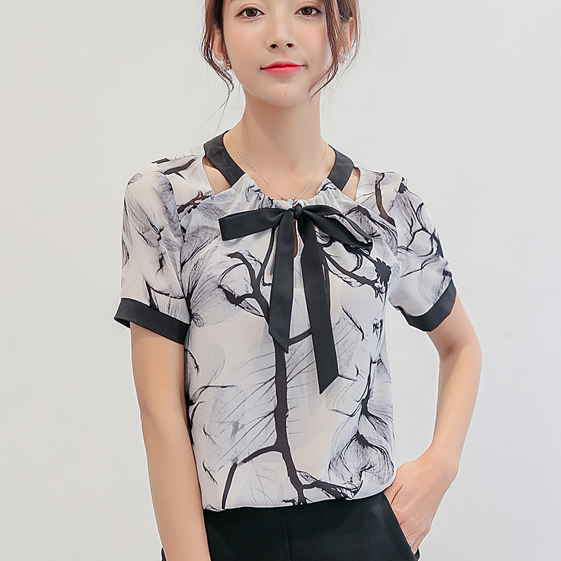 681db9e60be Summer casual women bow tie shirt professional New short-sleeve chiffon  blouse office ladies plus size work tops NS3237