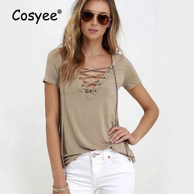 eb9043e7cf9 Cosyee Women T-shirt Casual Tees Tops Female T shirt Fashion Short Sleeve  Regular Length String Closed V-Neck Solid Harajuku Tee