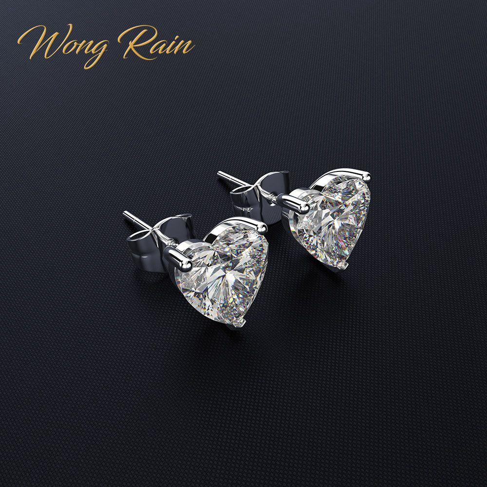 Wong Rain Classic 100% 925 Sterling Silver Created Moissanite Gemstone Anniversary Wedding Heart Earrings Fine Jewelry Wholesale