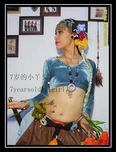 Image 4 - Nhung Mỡ Cơ Hội Bộ Lạc Choli Múa Bụng Thun Dài Tay FA01 FA06