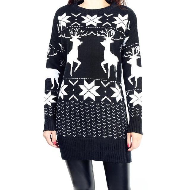 Women Sweater Christmas Long Knitted Wool Sweater Women Red Deer&Maple Leaf Pattern Snowflake Printed long SLeeve Crochet Mujer