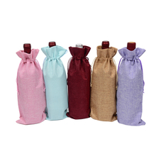 100pcs Jute Wine Bottle Covers Bags Burlap Line Drawstring Red Wine Pouch Christmas Party Wedding Gift Bag 5.91″x13.78″