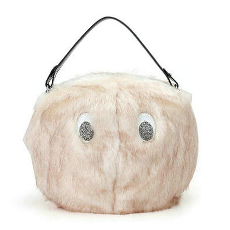 a9d6796ac10e Trong New Arrival Fashion Winter Rabbit Fur Bag Animal Cartoon Bear  Shoulder Bag Round Tote Women s Lady s Fun Big Eyes Handbag-in Shoulder Bags  from ...