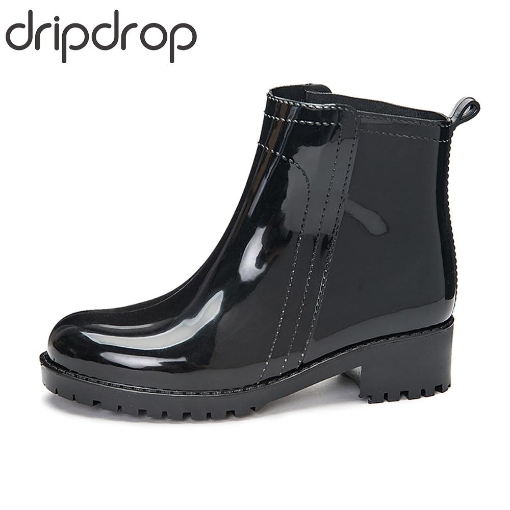 DRIPDROP Women's Short Boots Waterproof Non-Slip Fashion Rain Shoes Female Ankle Rubber Chelsea Rain Boots