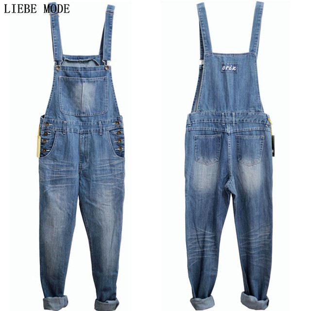00540f843b76 Adult One Piece Denim Jumpsuit Men Overalls Jumpsuit Bib Pants Suspender  Jeans Long Pants Dark Blue Light Blue Big Size S-5XL