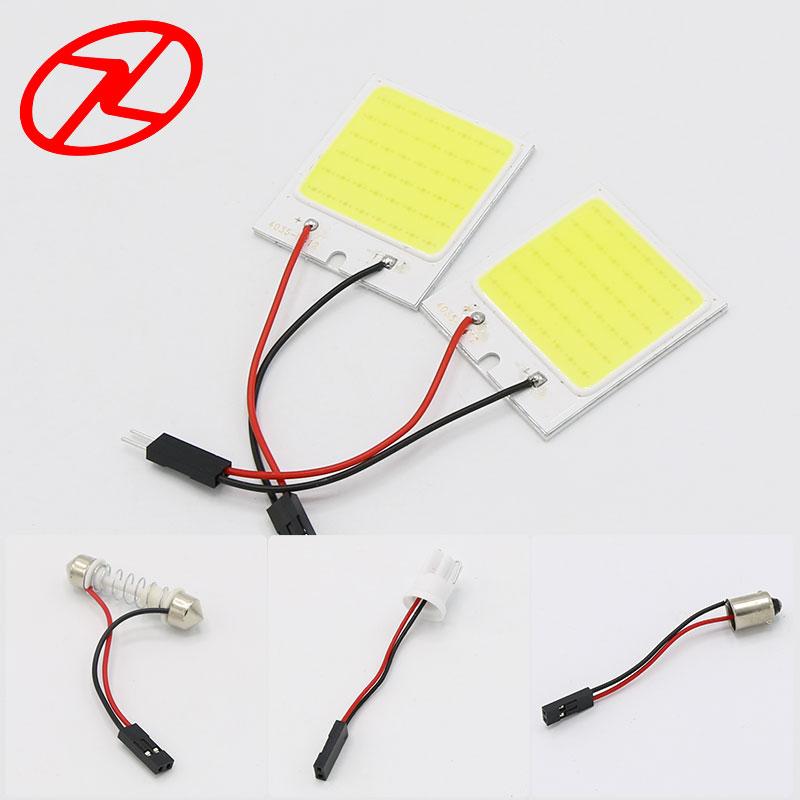2бр Бял COB чип 48 smd LED интериор на - Автомобилни светлини - Снимка 1