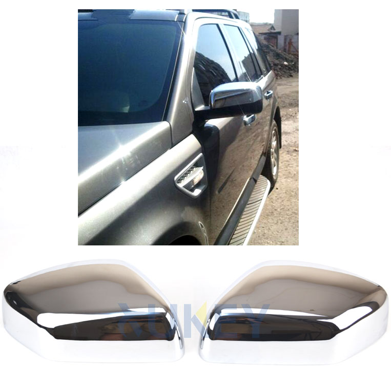 Pair Wing Side Mirror Cover Cap Chrome For Land Rover Range Rover Sport LR2 LR4