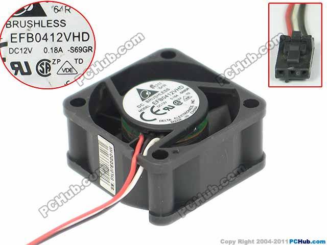 Delta Electronics EFB0412VHD S69GR Server Square Fan DC 12V 0.18A 40x40x20mm 3-wire