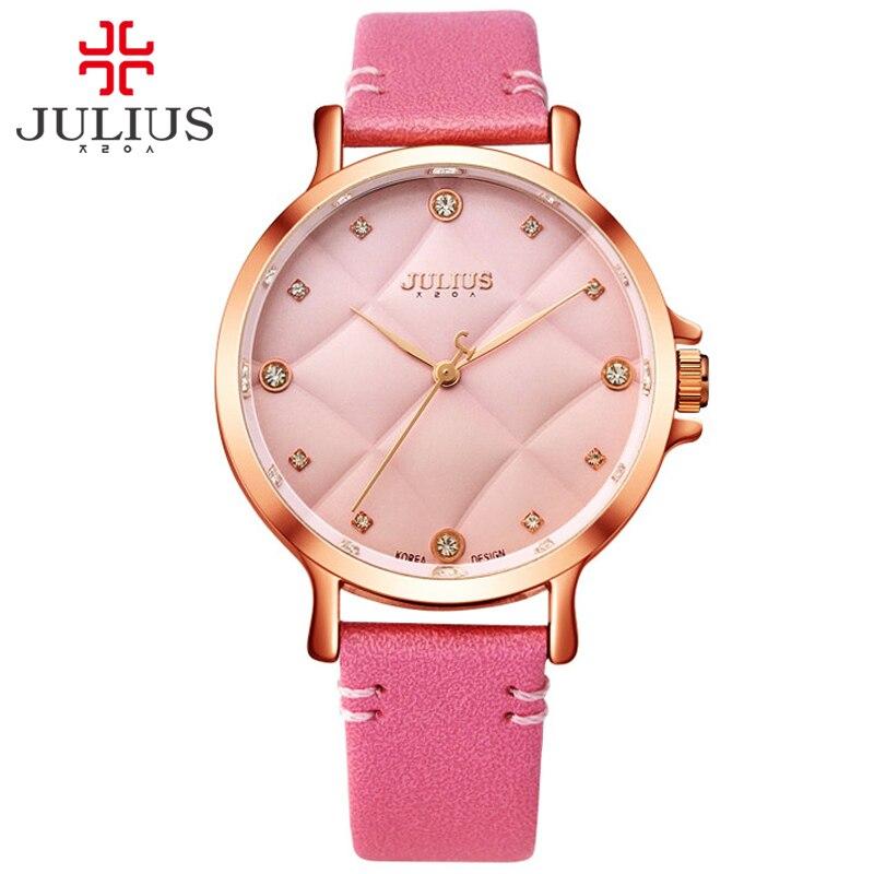 줄리어스 2017 새로운 패션 숙녀 가죽 크리스탈 다이아몬드 라인 석 핑크 시계 여자를위한 발렌타인 선물 아름다움 드레스 reloj JA 877-에서여성용 시계부터 시계 의  그룹 1