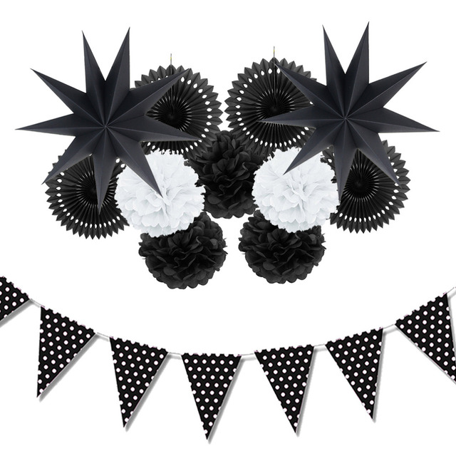 12pc black white paper decoration set party decor paper fans