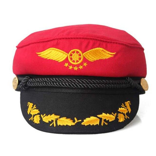 Маршал золотые крылья плоской верхней крышки VEGA вообще шляпа британский стиль военно-морского флота cap мода сейлор cap для женщин лето осень