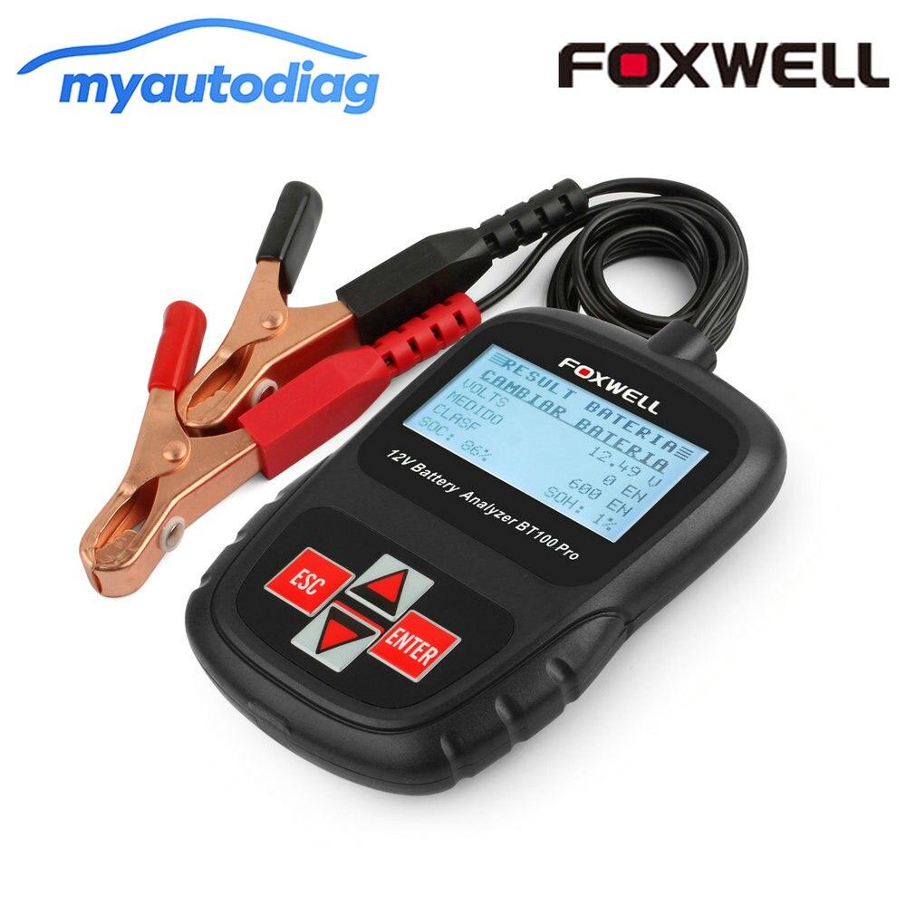 Cyfrowy tester baterii FOXWELL BT100 Pro 12V tester akumulatora samochodowego dla zalane, AGM, akumulator gel narzędzia motoryzacyjne analizator baterii
