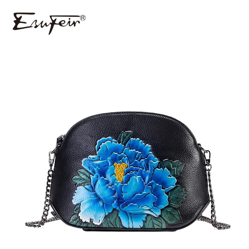 2018 ESUFEIR Brand Design Cow Leather Women Shell Bag Vintage Embossed Flower Zipper Chain Women Crossbody Bag Women Messeng Bag