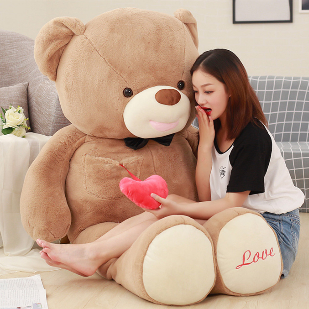 Fancytrader Giant Give You My Heart Teddy Bear Plush Toys Big Stuffed Soft Animals Bears Pillow Doll I Love You Gift for Girls fancytrader new style teddt bear toy 51 130cm big giant stuffed plush cute teddy bear valentine s day gift 4 colors ft90548