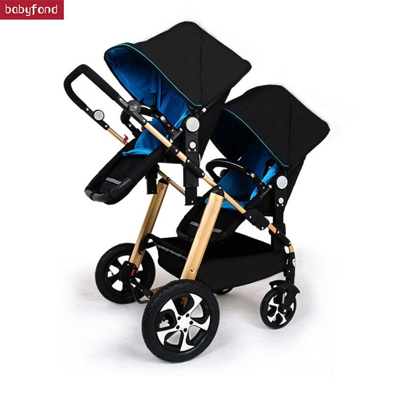 RU Free Shipping !Twins Baby Stroller Black Light Baby Stroller Multifunction Double Baby Stroller Aluminum Alloy  Prams