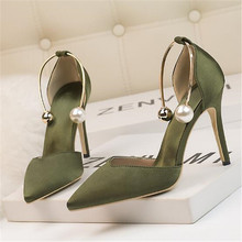 Women Sandals Ladies Shoes Metal-Buckle High-Heels Pointed Fashion Shallow Soft Silk