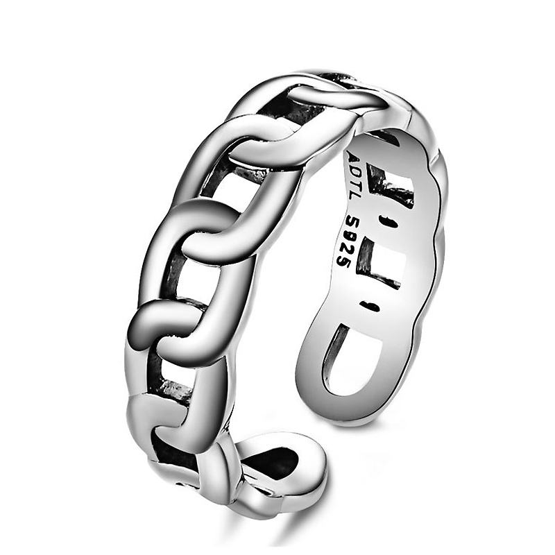 Fashion cutout chains sterling silver ring man woman fashion classic chain free carving - CRYSTAL BEADS store