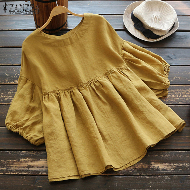 Women Summer Ruffled Blouse 2019 ZANZEA Vintage O Neck 3/4 Lantern Sleeve Work Blusas Cotton Linen Shirts OL Pleated Tunic Tops