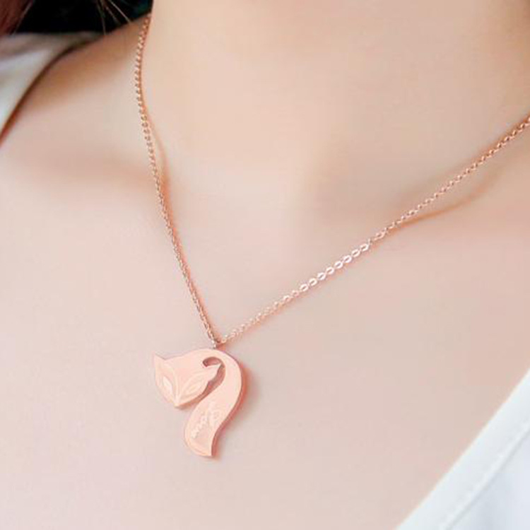 fashion jewelry Stainless steel with love Long tial fox Brand choker necklace best font b Christmas