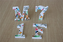 Spring Colors 10cm Wooden Alphabet Wedding Table Letters Numbers Decoration Craft for Home Birthday Party Events Supplies