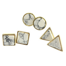 New Design Fashion Brand Square Triangle Round Geometric White Turquoise Stud Earrings For Women Charm Jewelry Factory Wholesale