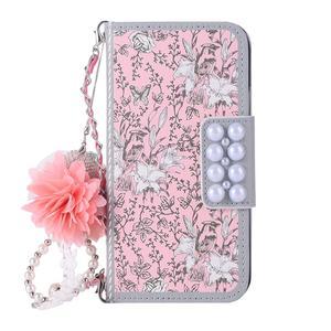 Image 2 - Rosa Telefon Tasche Für iPhone X schöne Perle Rose Blume Leder Handtasche Flip brieftasche Voller Fall abdeckung Für iPhone 7 8 6 6 S Plus 5 S SE