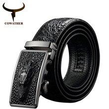 وصل حديثًا موضة 2019 من COWATHER أحزمة من جلد البقر الفاخر للرجال مزودة بمشبك تلقائي نمط التمساح حزام ey02 الأصلي للرجال