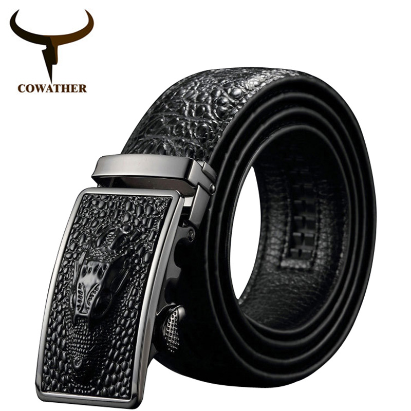 COWATHER 2019 New arrival luxury cow leather   belts   for men good alligator pattern automatic buckle mens   belt   original brand