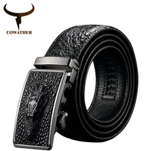 COWATHER cinturones de cuero de vaca para hombre, diseño de cocodrilo, hebilla automática, original, ey02, novedad de 2019