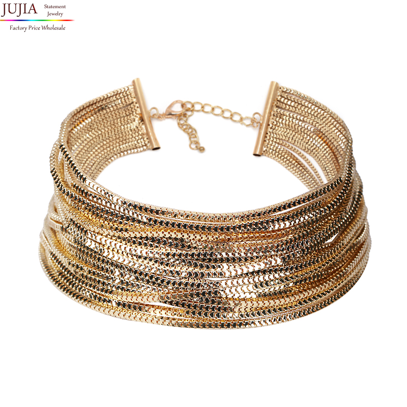 Luxury metal chain choker Maxi Statement Necklace Multilayer Wedding chokers Collier Fashion jewelry 1