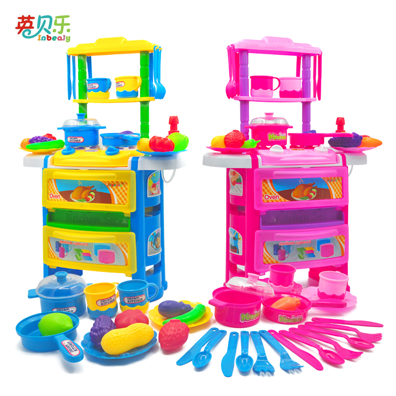 Music Kitchen Table Series Children Pretend Play Cooking Game Kitchen Toys Faucet Tableware Sets Stove Assemble Toys Girl Gift