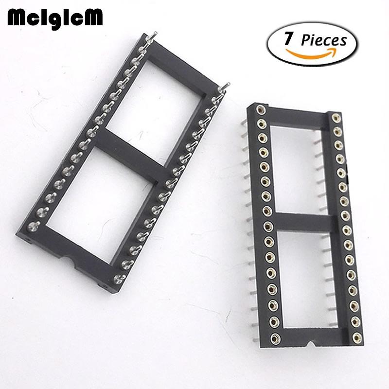 MCIGICM 7pcs Round Hole 32 Pins 2.54MM DIP IC Sockets Adaptor Solder Type IC Connector