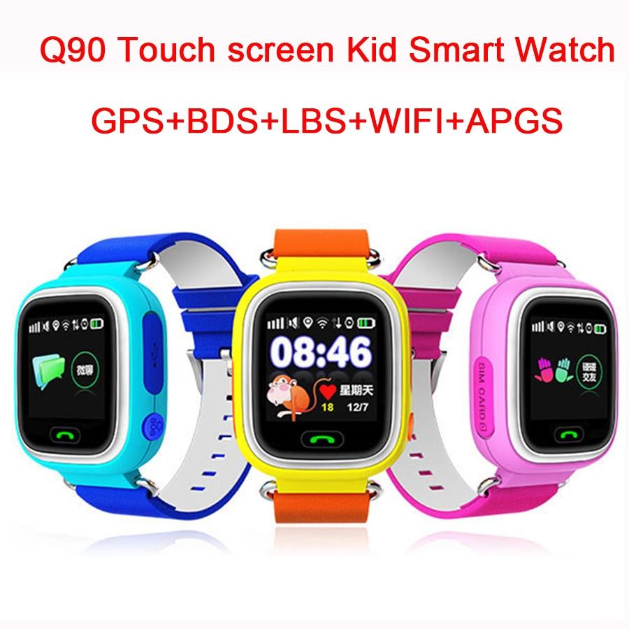 Q90 дети умные часы GPS таккера для малыша безопасным Wi-Fi местоположение Смарт-Детские часы-телефон sos-вызов для iOS и Android телефон PK q100 Q50