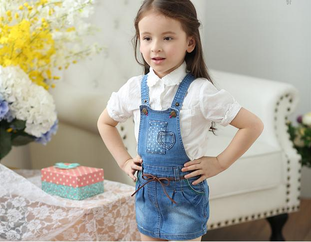 New Arrival Baby Girls Denim Dress Girls Suspender Denim Dresses  Children All-match Mini Dress Kids Fashion Clothing