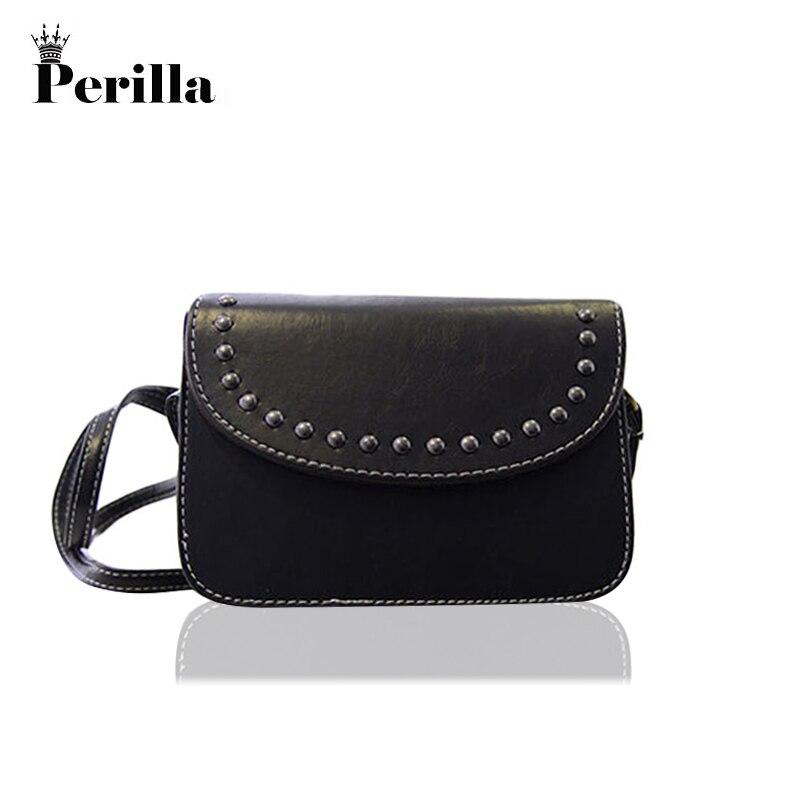 Перилла бренд Для женщин заклепки небольшая сумка Кроссбоди мини-сумка для мобильного те ...