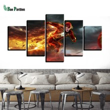 Framework Pictures Home Decor Canvas Painting 5 Panel The Flash Running Modular Top-Rated Wall For Living Room Modern Type