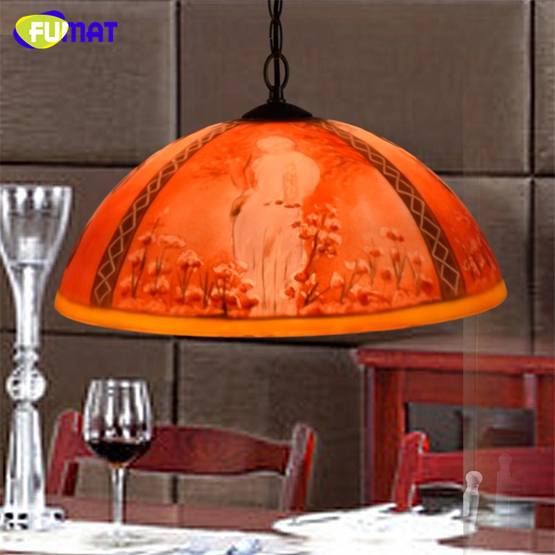 FUMAT Creative Vintage Art Stained Glass Decor Red Oil painting Shade Pendant Lights Restaurant Living Room LED Pendant Lamps fumat stained glass pendant lamps european style baroque lights for living room bedroom creative art shade led pendant lamp