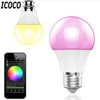 Inteligentne Bluetooth Diodowa Światła E27 Wielokolorowe Żarówka Lampy Ściemniacz Dla iOS Android System Zdalnego Sterowania Zwalczania zakłóceń