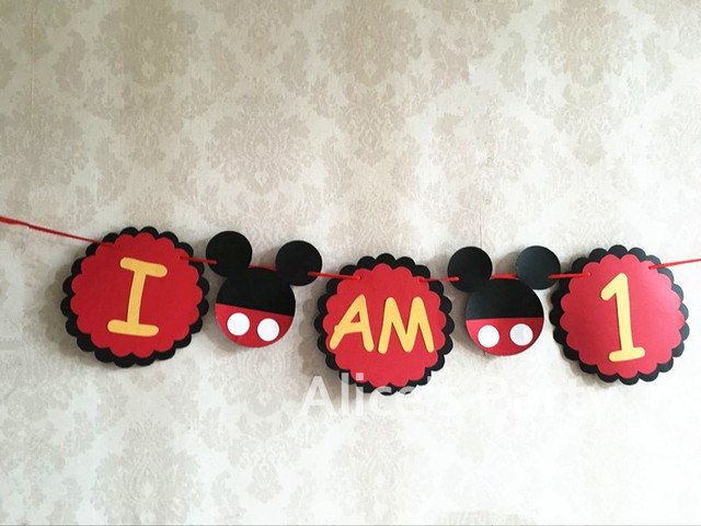 Hot Mickey Mouse Highchair Banner First Birthday Party Decoration Handcraft 1st Garland Baby Shower I Am One