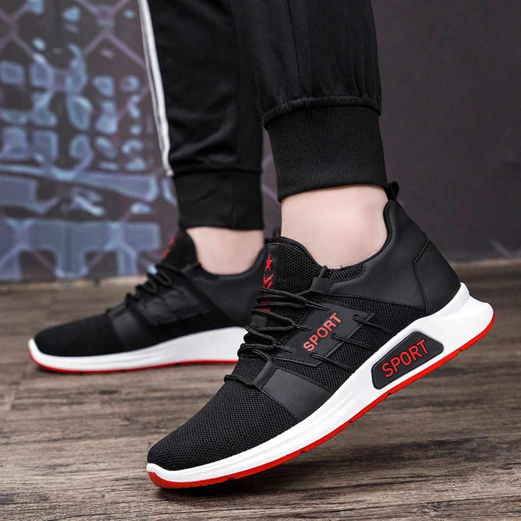 CHAMSGEND erkek ayakkabıları eğilim vahşi yardımcı olmak için düşük rahat ayakkabılar örgü nefes spor ayakkabı rahat koşu ayakkabıları